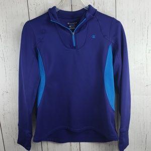 Champion Pullover Sweater Quarter Zipper Purple L